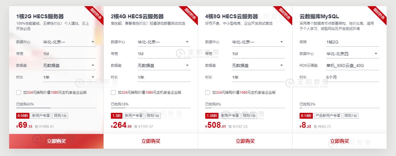 华为云,828企业上云节优惠活动上线,新用户秒杀低至0.59折,100%性能基线,1核心2G内存69元/年,2核心4G内存264元/年,4核心8G内存508元/年-主机参考
